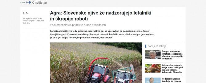 Termodron in media | Agra: Slovenske njive že nadzorujejo letalniki in škropijo roboti