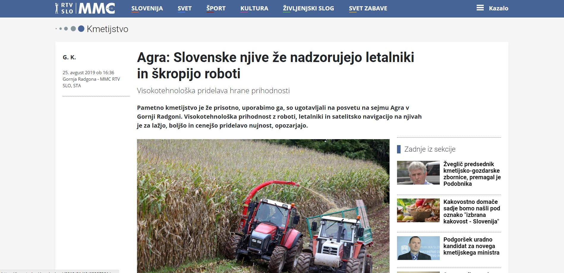 Termodron - In Media - Agra: Slovenske njive že nadzorujejo letalniki in škropijo roboti