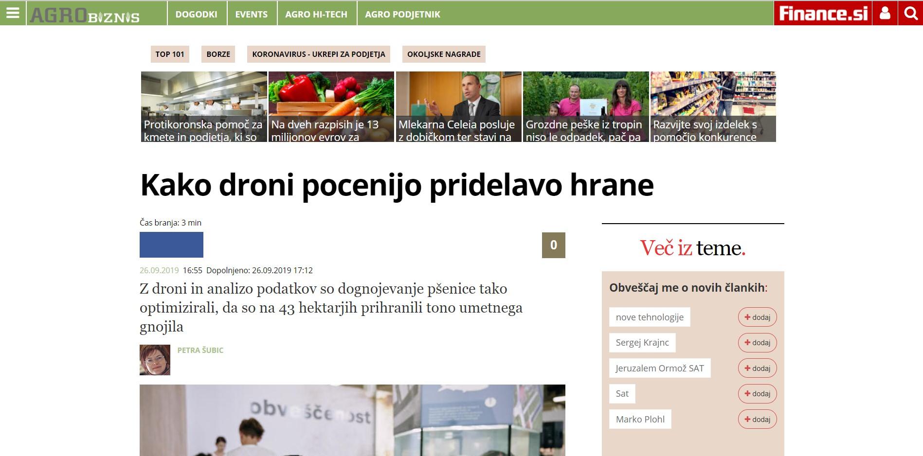 Termodron - In Media - Kako droni pocenijo pridelavo hrane