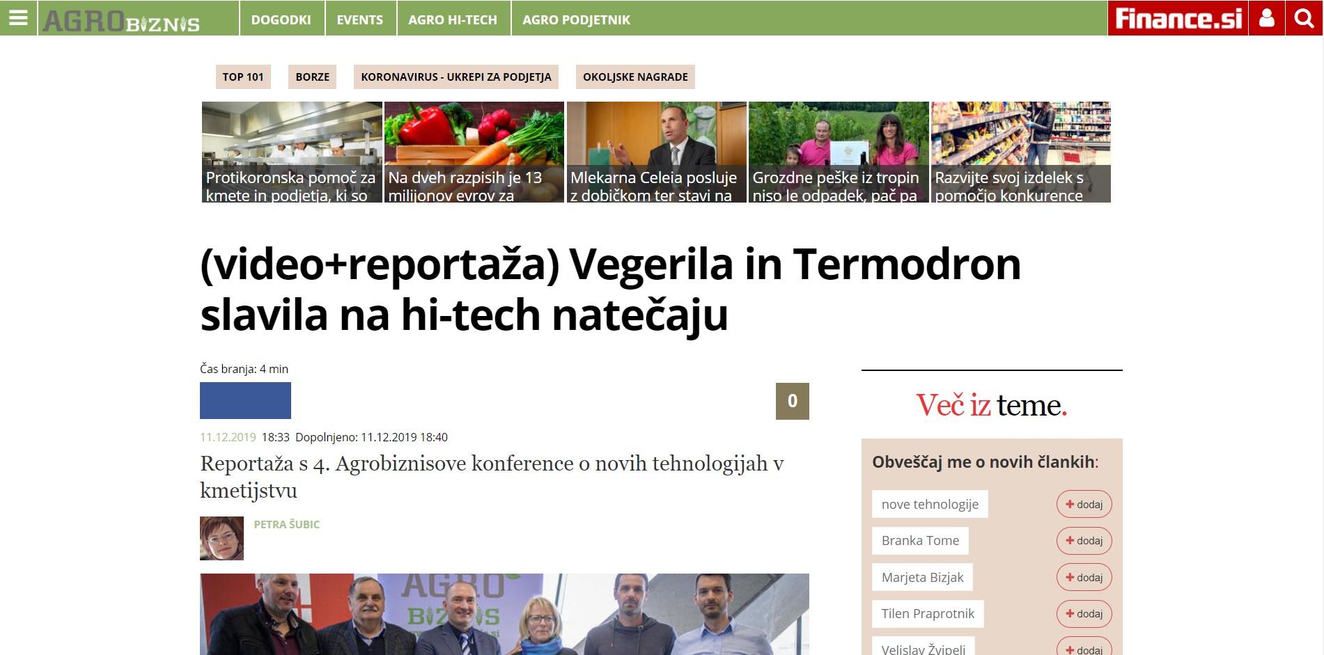 Termodron - In Media - Vegerila in Termodron slavila na hi-tech natecaju